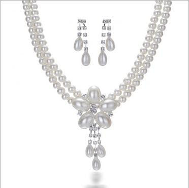 Romantic Pearl Crystal Necklace Set - 786shop4you