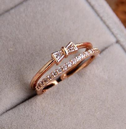 18K Gold Plated Two layer Crystal Ring - 786shop4you