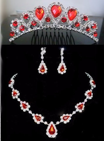 Acrylic 3 Pcs  Water Drop Bridal Jewellery Set DLT - 786shop4you