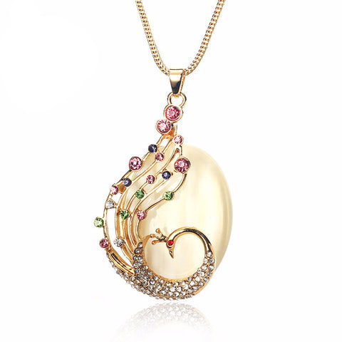 Peacock Crystal Necklace - 786shop4you