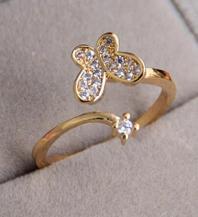 18K Gold Plated Butterfly Crystal Ring - 786shop4you