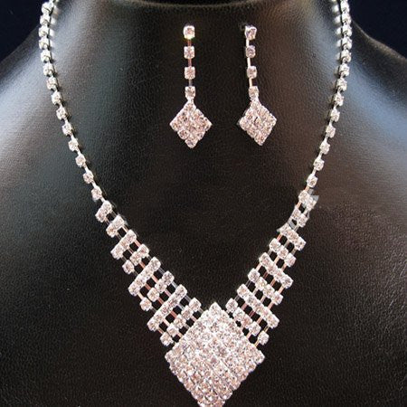 Crystal Square Necklace Set F8 - 786shop4you