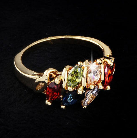 18K Gold Plated Colorful Zircon Crystal Ring - 786shop4you