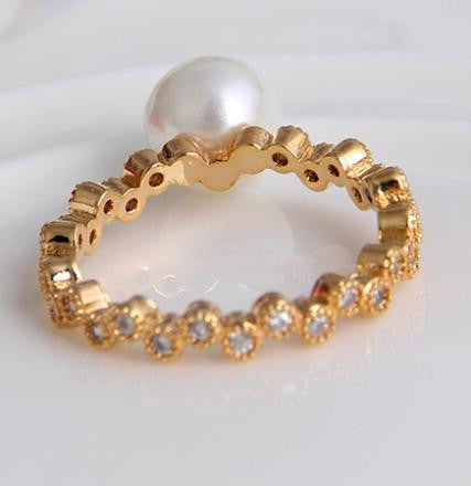 18K Gold Plated Zircon Crystal Pearl Ring - 786shop4you