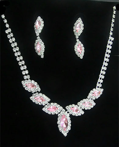 Crystal Pink leaves Necklace Set DLT - 786shop4you