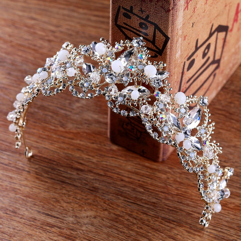 Crystal Gold Rhinestone Bridal Tiara - 786shop4you