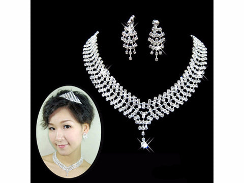 Crystal Diamante Silver Snake Necklace Set F8 - 786shop4you