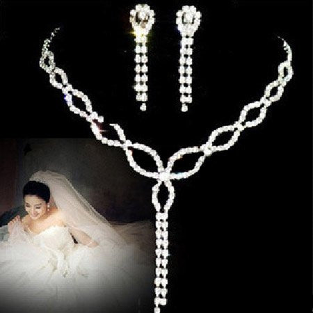 Zinc Alloy Drop Crystal Necklace earring set DLT