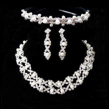 Pearl Crystal Tiara Necklace Earring Set F8 - 786shop4you