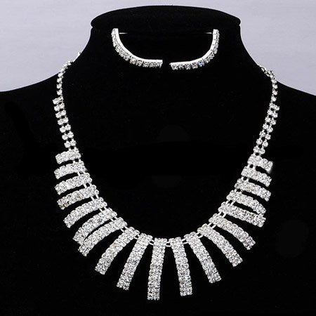 Elegant Crystal Triangle Necklace Set F8 - 786shop4you