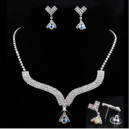 Rhinestone Silver Plated Alloy Necklace Set - 786shop4you