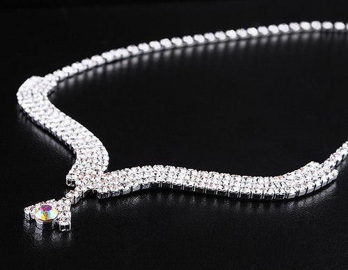 Rhinestone Silver Plated Alloy Necklace Set DLT