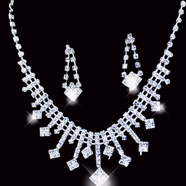 Rhinestone Arrow Necklace Set F8
