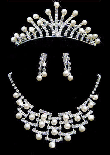 Pearl Tiara Necklace Earring Set - 786shop4you