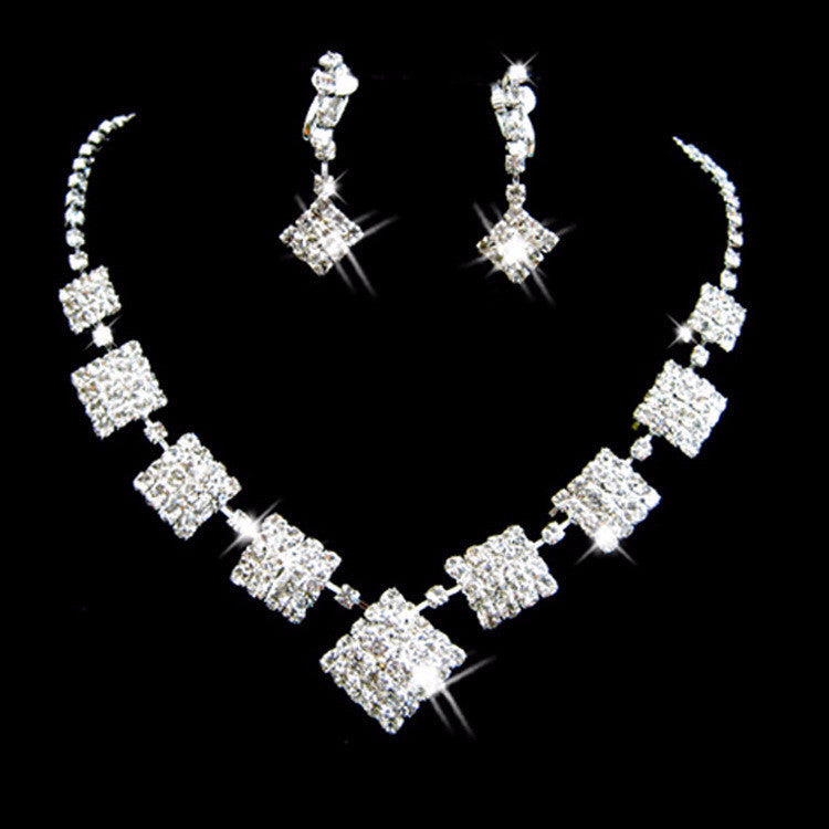 Rhinestone Crystal  Square Style Necklace Set F8