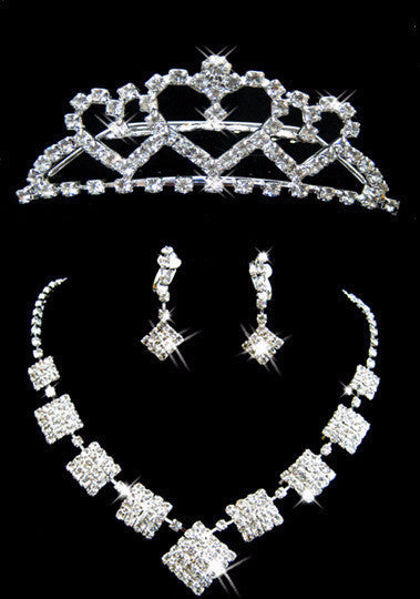 Square ZigZag 3 Pcs Tiara Necklace Earring Set DLT