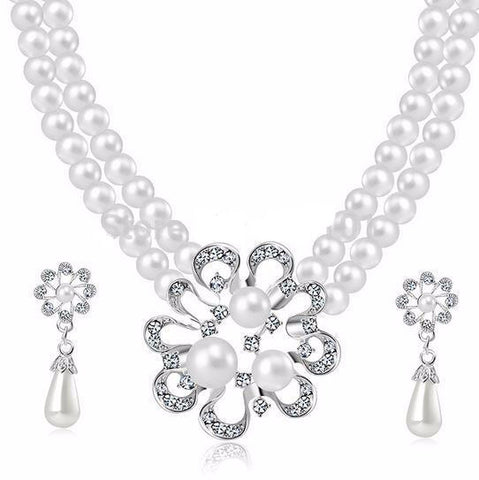 Crystal Pearls Silver Choker Necklace Set DLT - 786shop4you