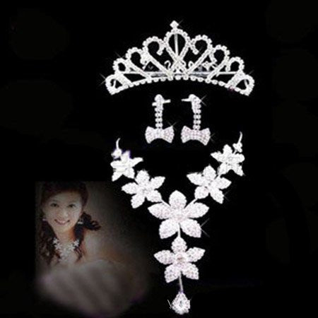 Flower Rhinestone Crystal Tiara Necklace Earring Set DLT - 786shop4you
