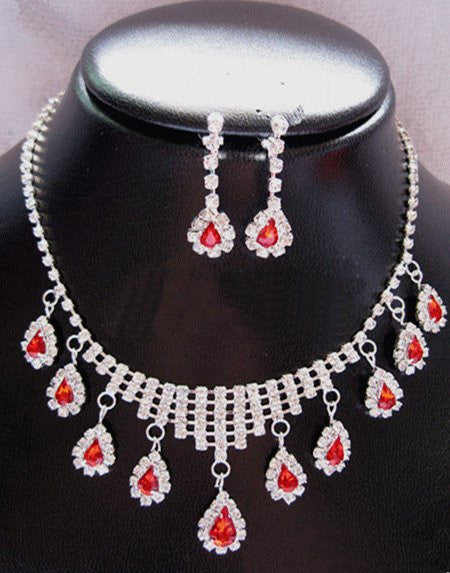 Rhinestone Flower Necklace Earring Set - 786shop4you