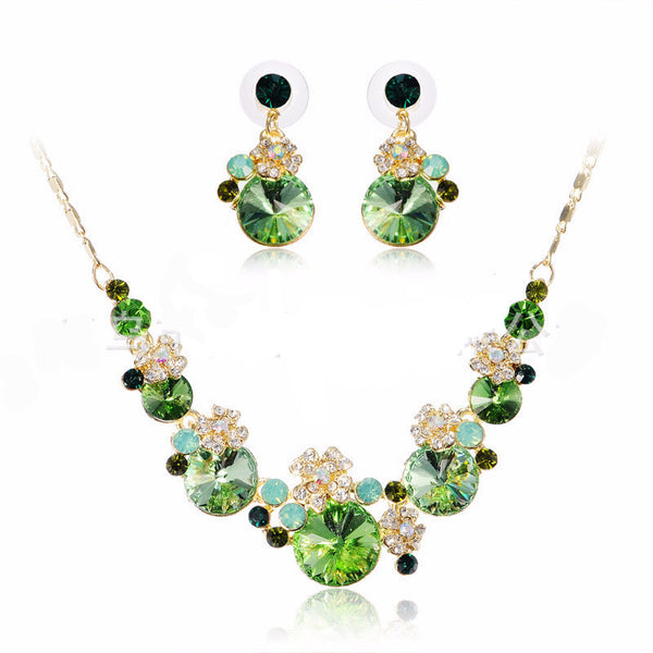 Romantic Crystal Water Drop Necklace Set - 786shop4you