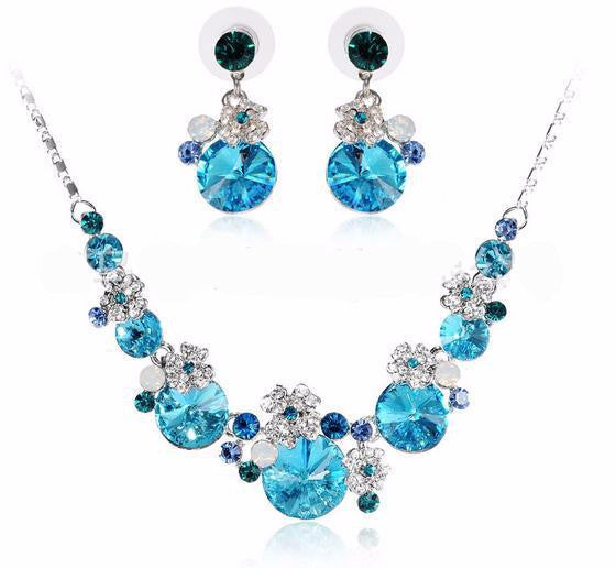 Romantic Crystal Water Drop Necklace Set DLT - 786shop4you