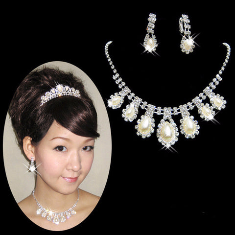 Pearl Crystal Water Drop Necklace Set DLT - 786shop4you