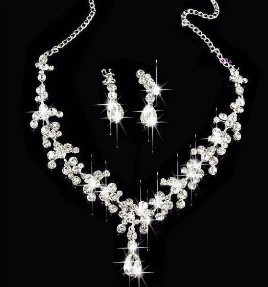 Silver Plated Crystal Tiara Necklace Earring Set