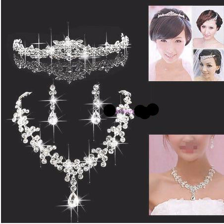 Silver Plated Crystal Tiara Necklace Earring Set - 786shop4you
