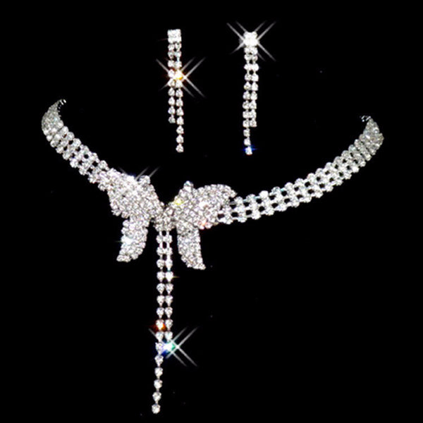 Butterfly Bow Crystal Necklace Set - 786shop4you