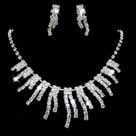 Crystal Drop Necklace Set F8 - 786shop4you