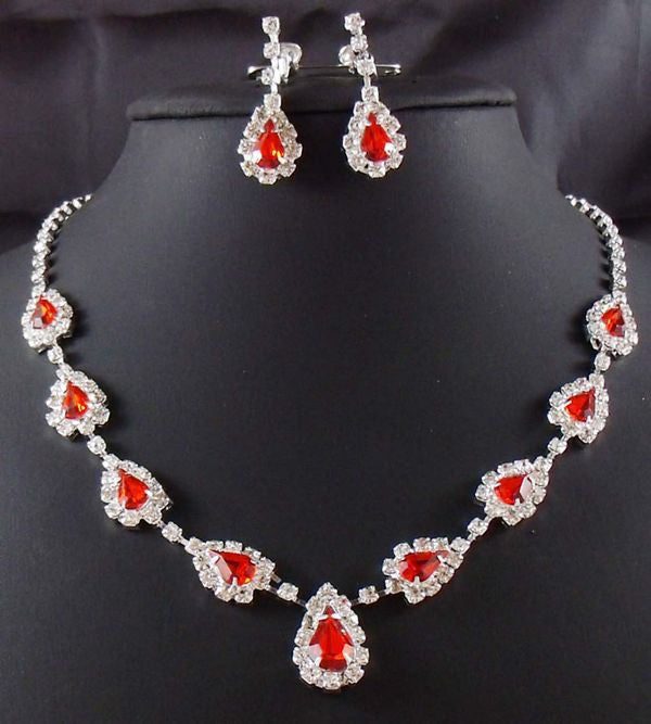 Red Crystal D Necklace Set - 786shop4you
