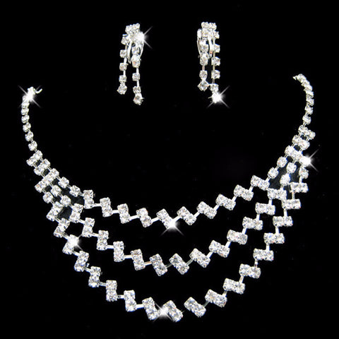 ZigZag  Crystal Necklace earrings set - 786shop4you