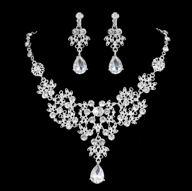 Crystal Flower Necklace Set - 786shop4you