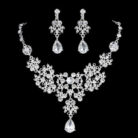 Crystal Flower Necklace Set F8 - 786shop4you