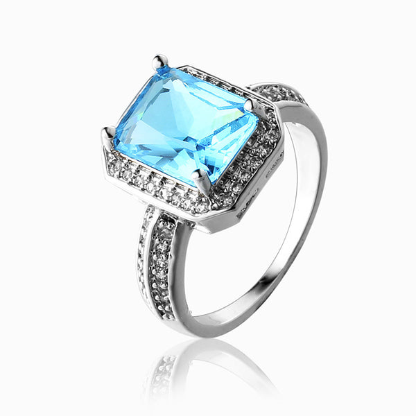 Blue Stone Silver Plated Ring - 786shop4you