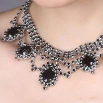 Black Vintage Short Neck Necklace Set F8 - 786shop4you