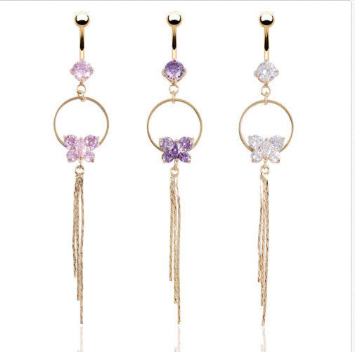 Body Piercing Zircon Long Dancing K Belly Button Ring - 786shop4you