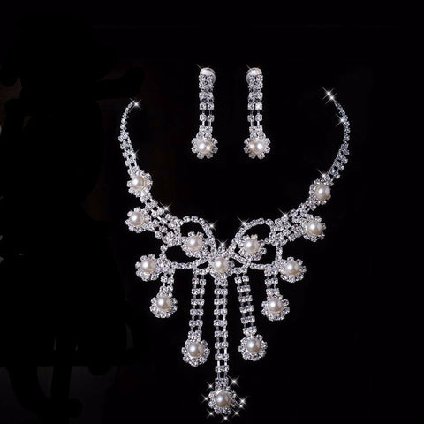 Austrian Pearl Crystal Necklace Set - 786shop4you