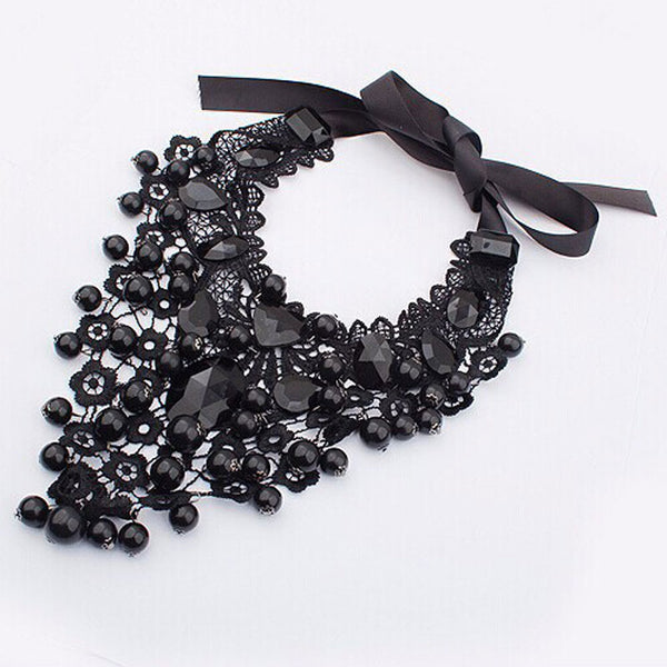 Black Lace Classic Statement Necklace - 786shop4you