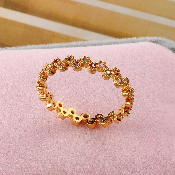 18k Gold Plated Rainbow Rhinestone Ring - 786shop4you
