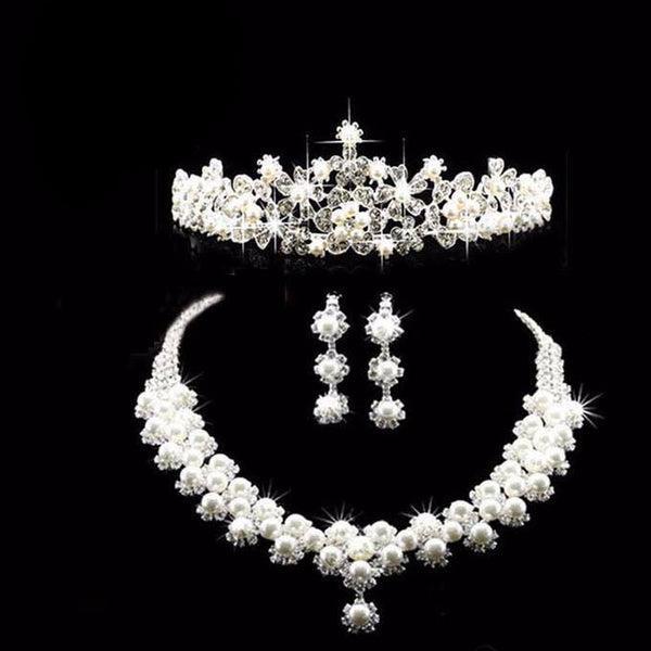 Silver Plated Pearl Tiara Necklace Earring Set - 786shop4you