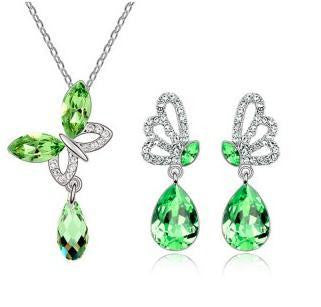 Austrian Crystal Butterfly Pendant Necklace Set - 786shop4you
