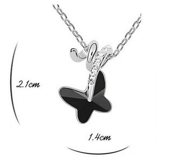Austrian Crystal Butterfly Necklace Set DLT - 786shop4you