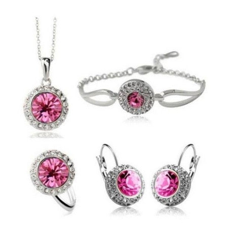 Sw Crystal Earring Necklace Bracelet Set