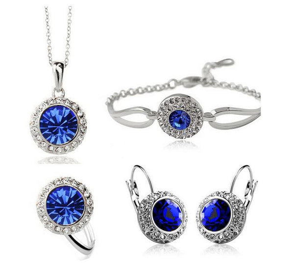 Fashion 2016 New Austrian Crystal Round Earrings Necklaces bracelets Rings jewelry Sets CS180B22 ABC 403101493 - 786shop4you