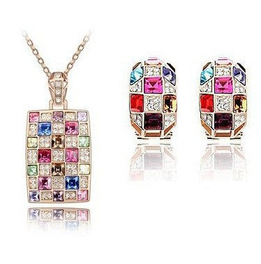 Colorful Crystal Earring Necklace - 786shop4you