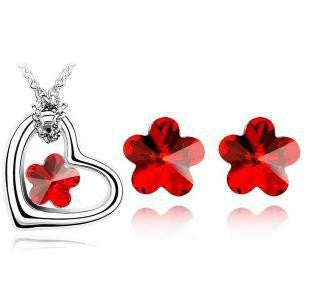 Flower Heart Crystal Necklace Set - 786shop4you