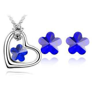 Flower Heart Crystal Necklace Set DLT - 786shop4you