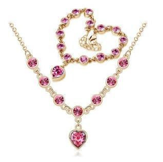 Classic Crystal Heart Necklace Bracelet Set - 786shop4you