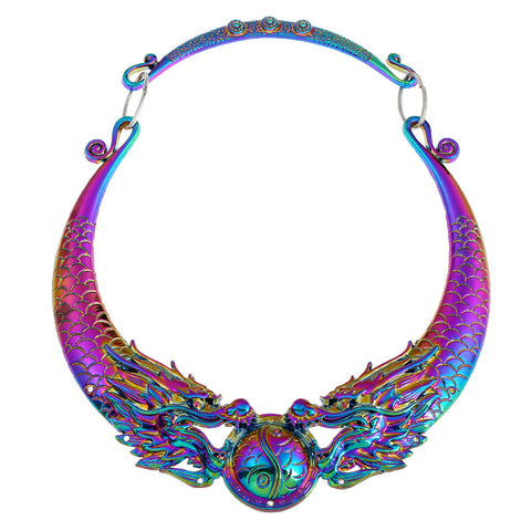 Double Dragon Flame Statement Necklace - 786shop4you